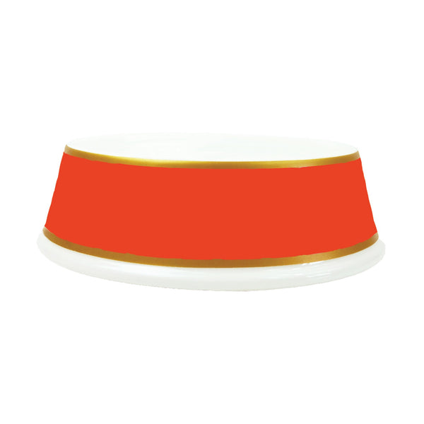 PORCELAIN DOG BOWL IN TANGERINE, Bowls - Bones Bizzness