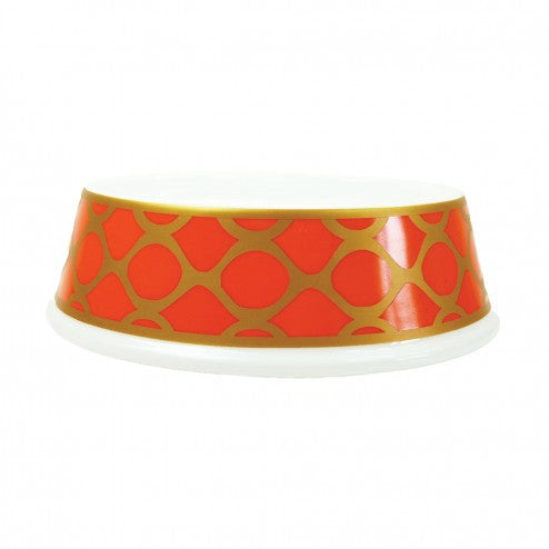 PORCELAIN DOG BOWL IN PATTERNED TANGERINE, Bowls - Bones Bizzness