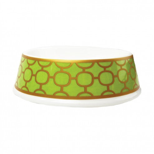 PORCELAIN DOG BOWL IN PATTERNED LIME, Bowls - Bones Bizzness