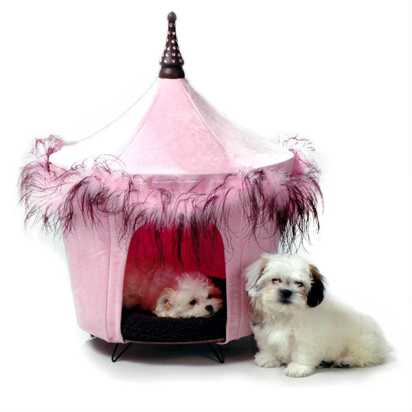Posh And Pink Feather Dog Bed, Beds - Bones Bizzness