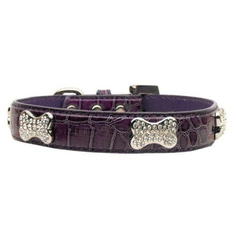 FAUX CROC CRYSTAL BONE DOG COLLAR - Bones Bizzness