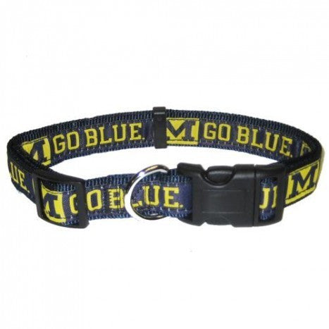MICHIGAN WOLVERINES DOG COLLAR – REFLECTIVE, NCAA - Bones Bizzness