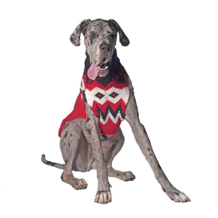 RED FAIRISLE WOOL DOG SWEATER - Bones Bizzness