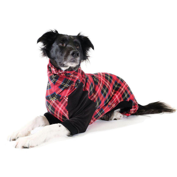 STRETCH FLEECE ONESIE DOG PAJAMAS TARTAN/BLACK