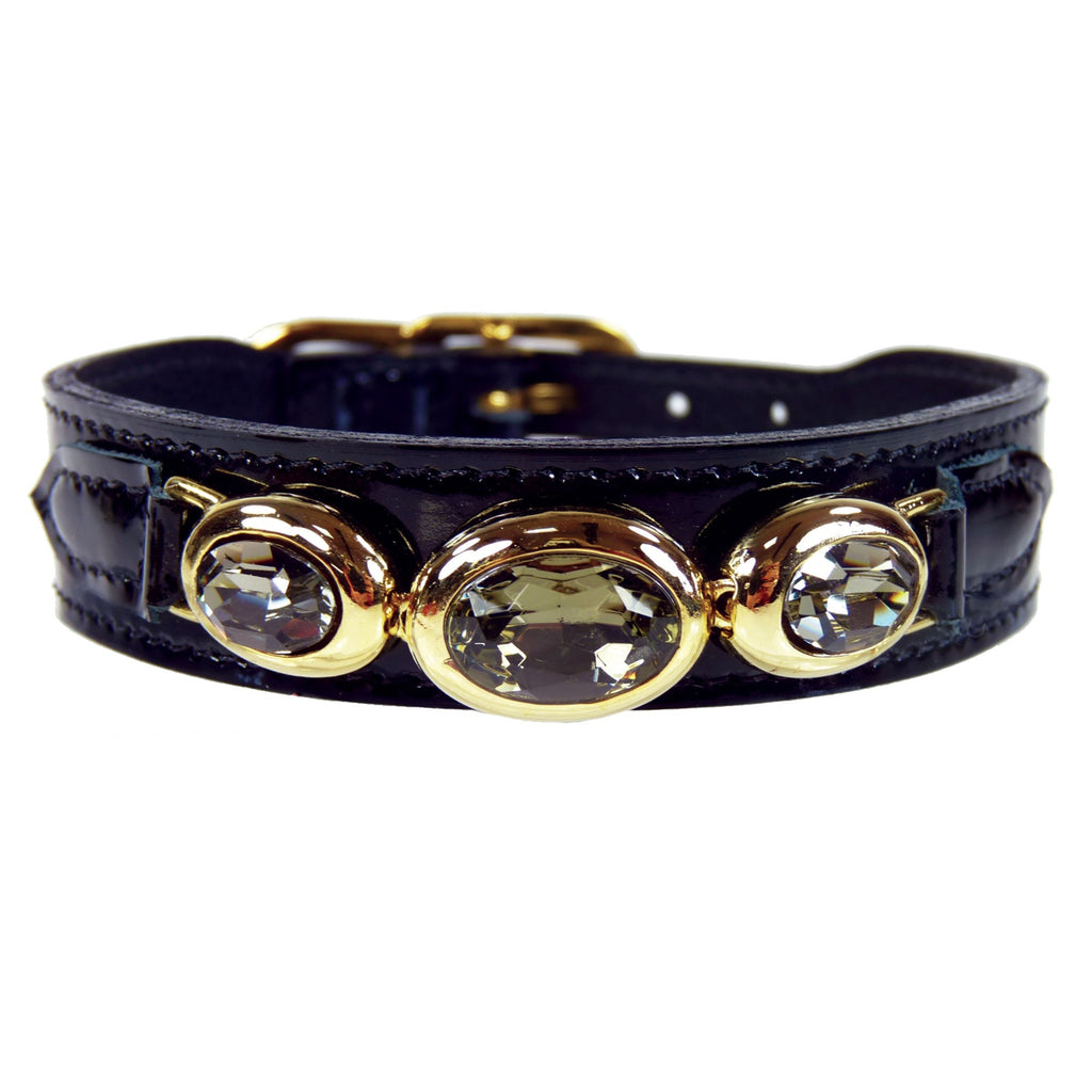 REGENCY IN BLACK PATENT DOG COLLAR, Collars - Bones Bizzness