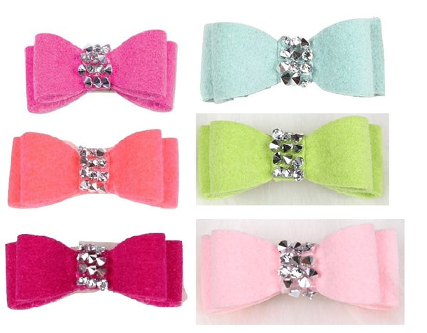 CRYSTAL ROCK DOG HAIR BOWS - (53 COLORS), HAIR BOW - Bones Bizzness