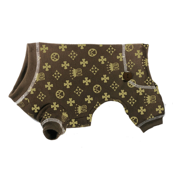 HD ROYAL CROWN DOG LONG JOHNS - BROWN, PAJAMAS - Bones Bizzness