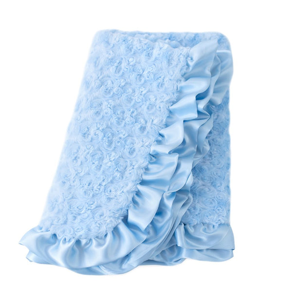 BABY BLUE RUFFLE DOG BLANKET