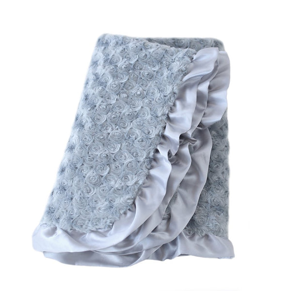 SILVER RUFFLE DOG BLANKET