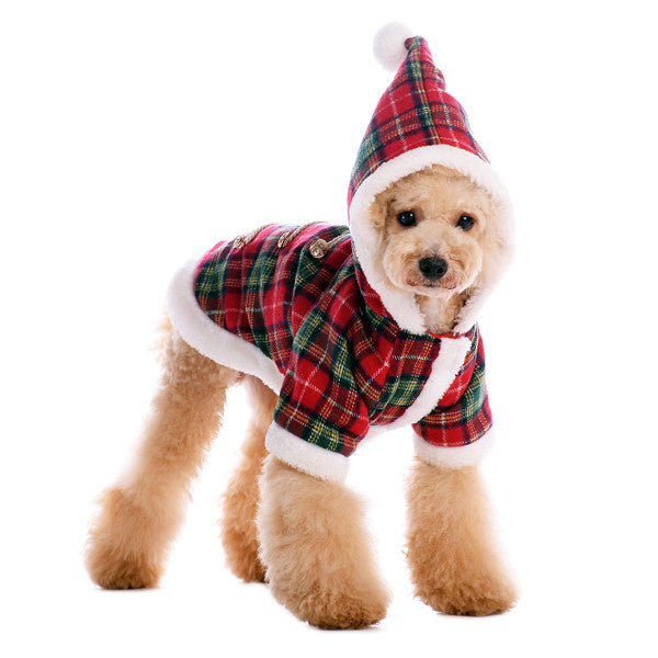 SANTA PLAID DOG COAT, Coats - Bones Bizzness