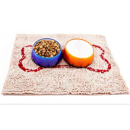 SOGGY DOGGY DOG DOORMAT BEIGE W/ RED BONE, Rugs - Bones Bizzness