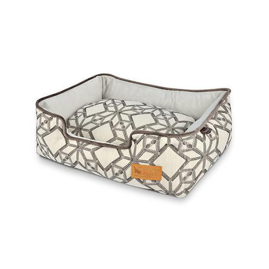 SOLSTICE LOUNGE DOG BED - MUSTARD/PEBBLE GREY