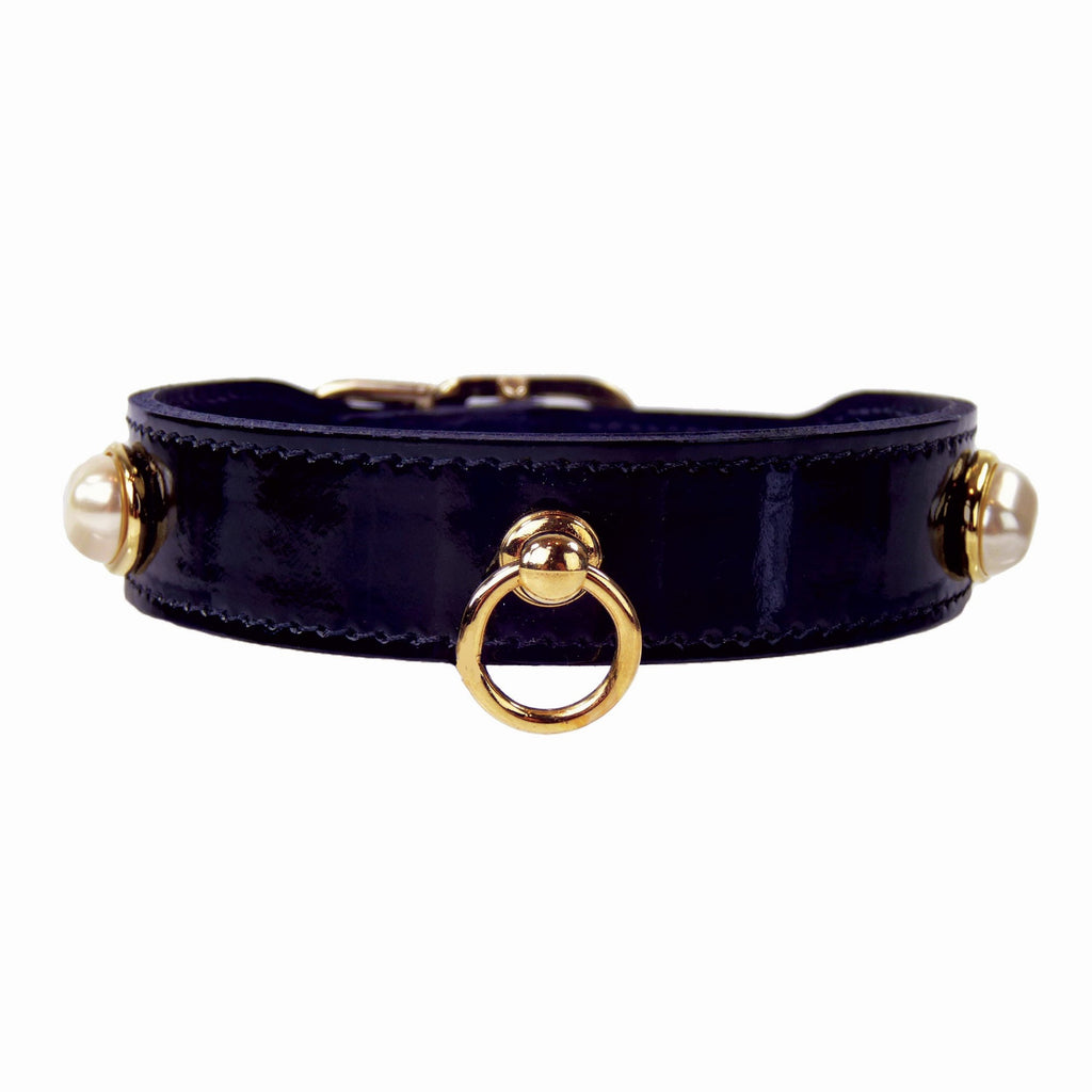SOUTH SEAS IN BLACK PATENT DOG COLLAR, Collars - Bones Bizzness