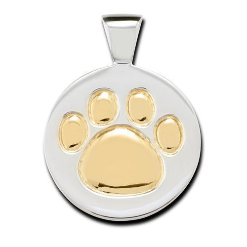 STERLING SILVER /18K YELLOW GOLD PAW PRINT PENDANT