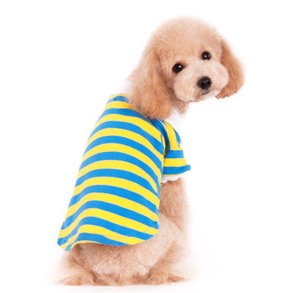 STRIPE POLO SHIRT YELLOW/BLUE, Shirts Tanks & Tees - Bones Bizzness
