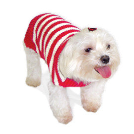 RED STRIPY LOVER DOG SWEATER, Sweaters - Bones Bizzness