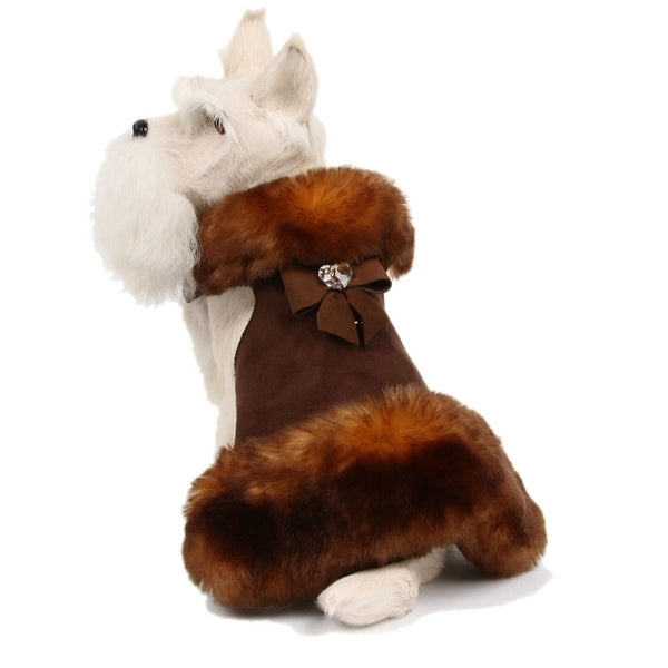 BLACK TAIL BOW FLUFF FAUX FUR DOG COAT, Coats - Bones Bizzness