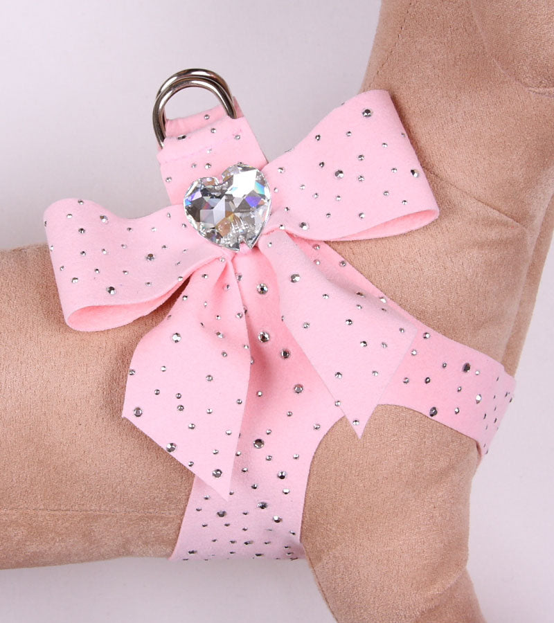 STARDUST TAIL-BOW STEP-IN SWAROVSKI CRYSTAL DOG HARNESS  - PUPPY PINK, Harness - Bones Bizzness