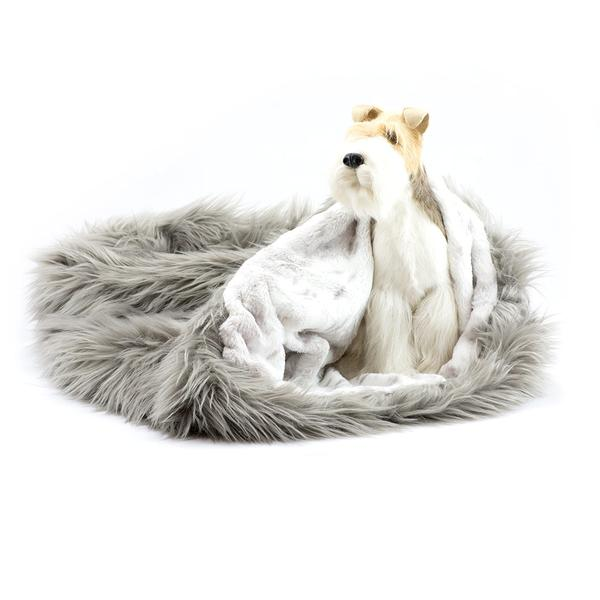 TAUPE SHAG WITH PLATINUM SNOW CUDDLE CUP DOG BED, Beds - Bones Bizzness