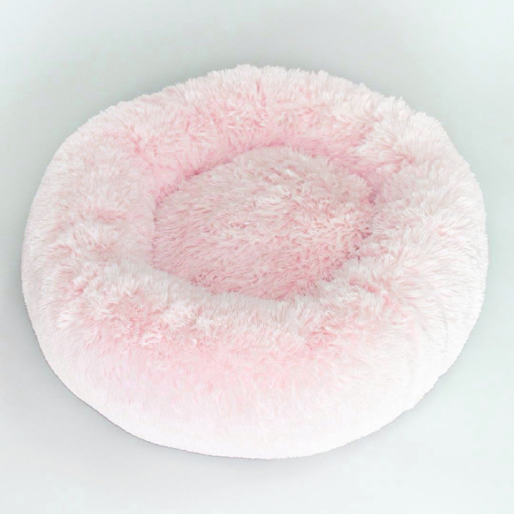 PINK CUDDLE SHAG DOG BED