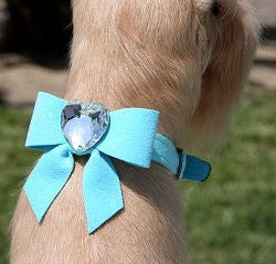 TAIL BOW HEART SWAROVSKI CRYSTAL DOG COLLAR - (42 COLORS), Collars - Bones Bizzness