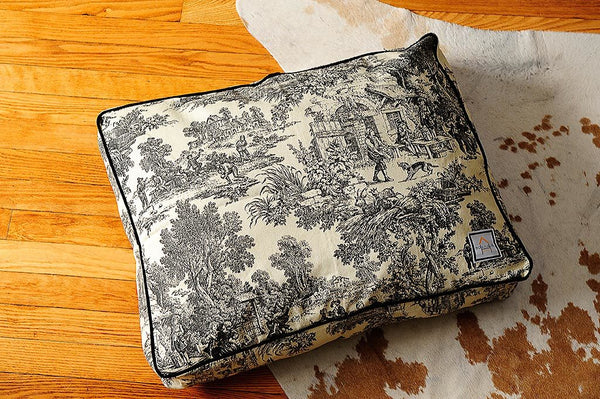 BLACK TOILE DOG BED, Crate Cover - Bones Bizzness