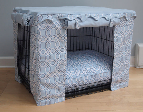 BLUE MOROCCAN TRELLIS DOG CRATE COVER, Crate Cover - Bones Bizzness
