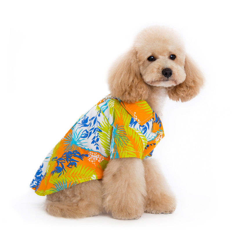 TROPICAL ISLAND DOG SHIRT ORANGE, Shirts Tanks & Tees - Bones Bizzness