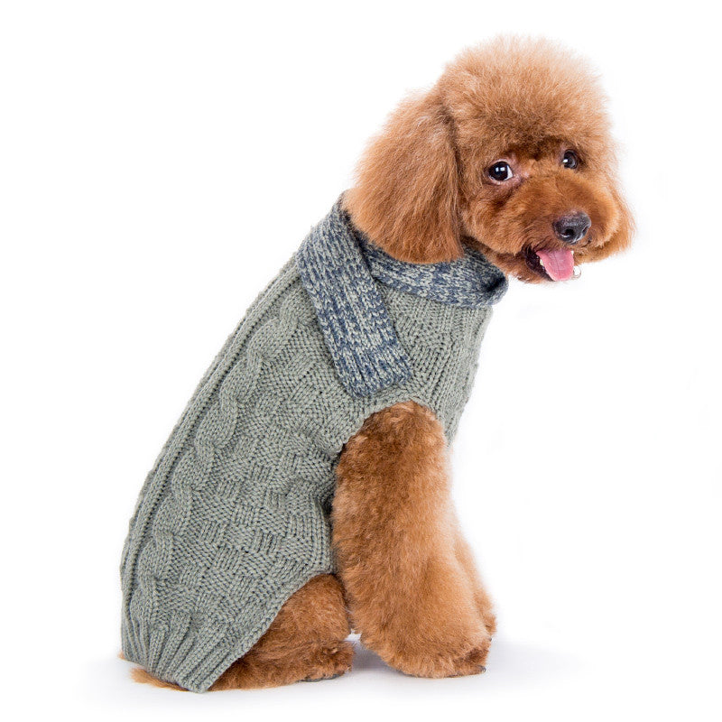 URBAN SCARF GREY CABLE DOG SWEATER, Sweaters - Bones Bizzness