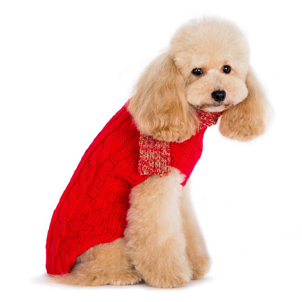 URBAN SCARF RED CABLE DOG SWEATER, Sweaters - Bones Bizzness