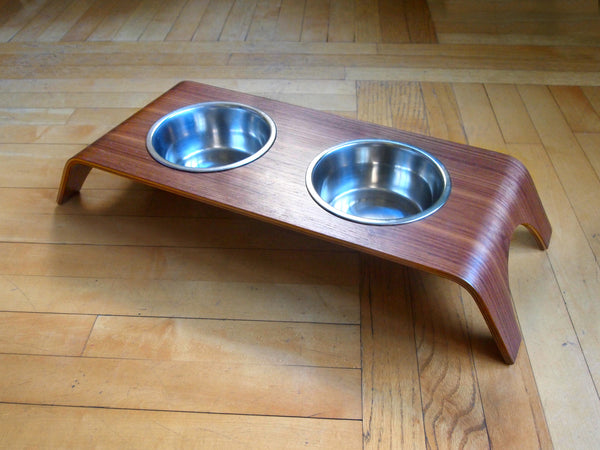 WALNUT ELEVATED PET FEEDER STAND - DOUBLE, Bowls - Bones Bizzness