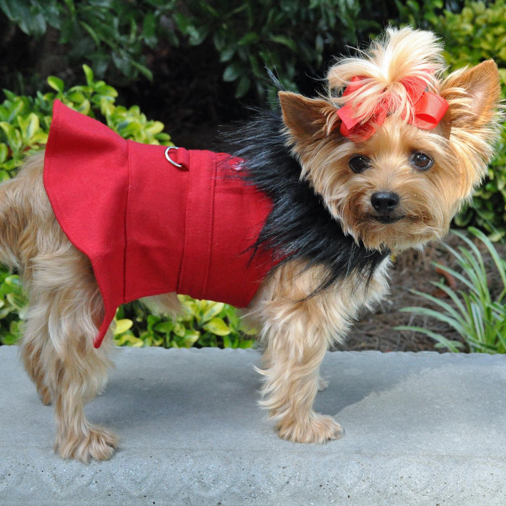 RED WOOL FUR TRIMMED DOG HARNESS & COAT W/ LEASH SET, Coats - Bones Bizzness
