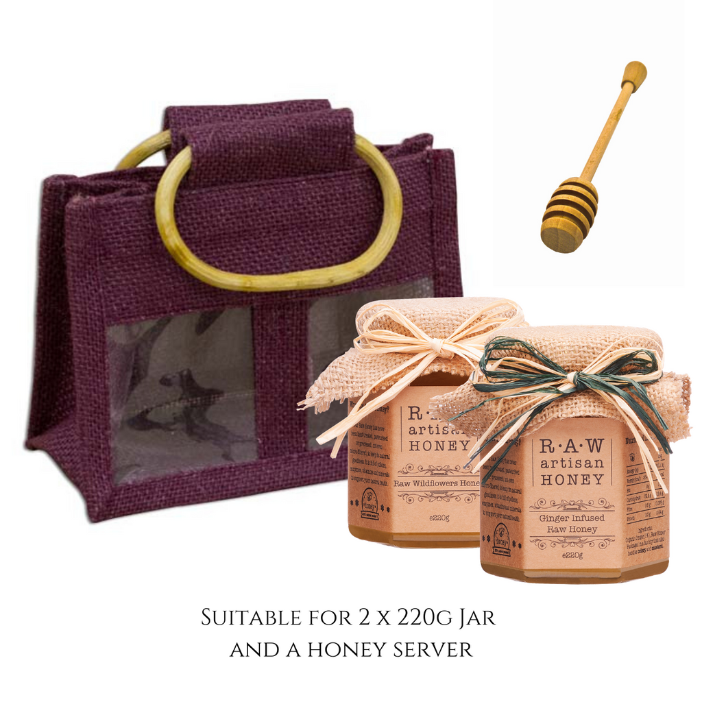 Burgundy Gift Bag for 2 Honey Jars