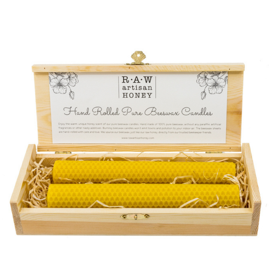 Beeswax Candles Gift set, raw artisan honey