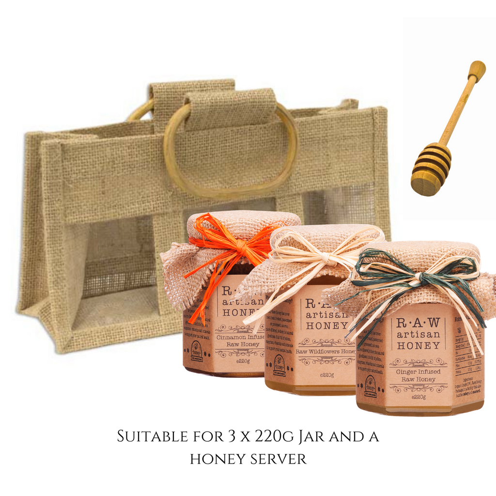 Jute Gift bag for 3 jars, honey gift set