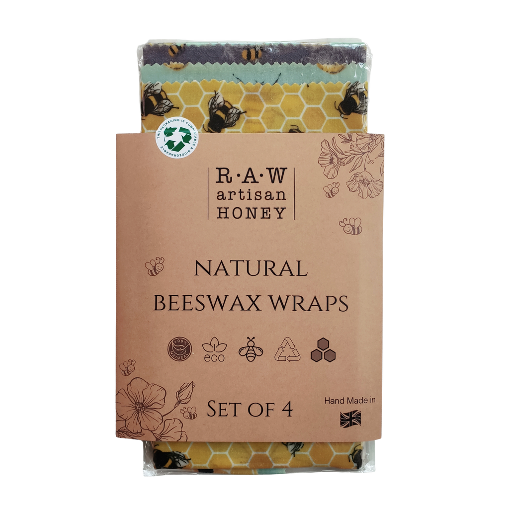 Natural Beeswax Wraps Set of 4