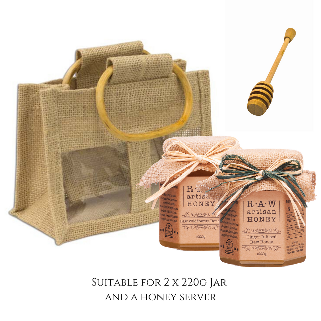Natural Gift Bag for 2 Honey Jars