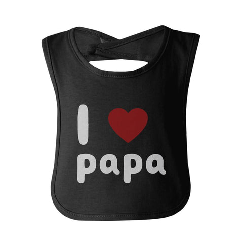 I Love Papa Cute baby Bibs Funny Infant Snap On