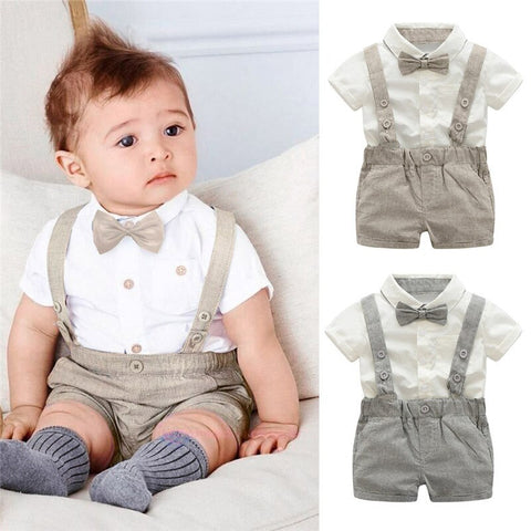 Kids Baby Boys Summer Clothes Set Gentleman Bowtie