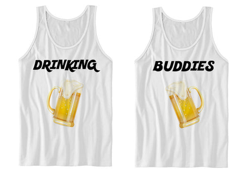 Couples Tank Top Drinking Buddies (White)