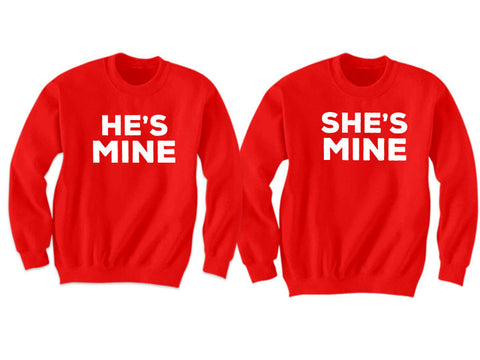 Couples Sweatshirts He's Mine She's Mine (Red)