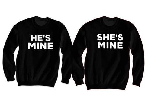 Couples Sweatshirts He's Mine She's Mine (Black)