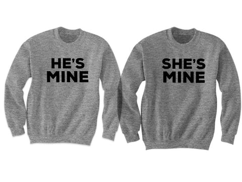 Couples Sweatshirts He's Mine She's Mine (Grey)