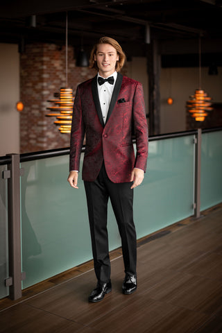 MOD Apple Red Aries Paisley Slim Fit Tuxedo