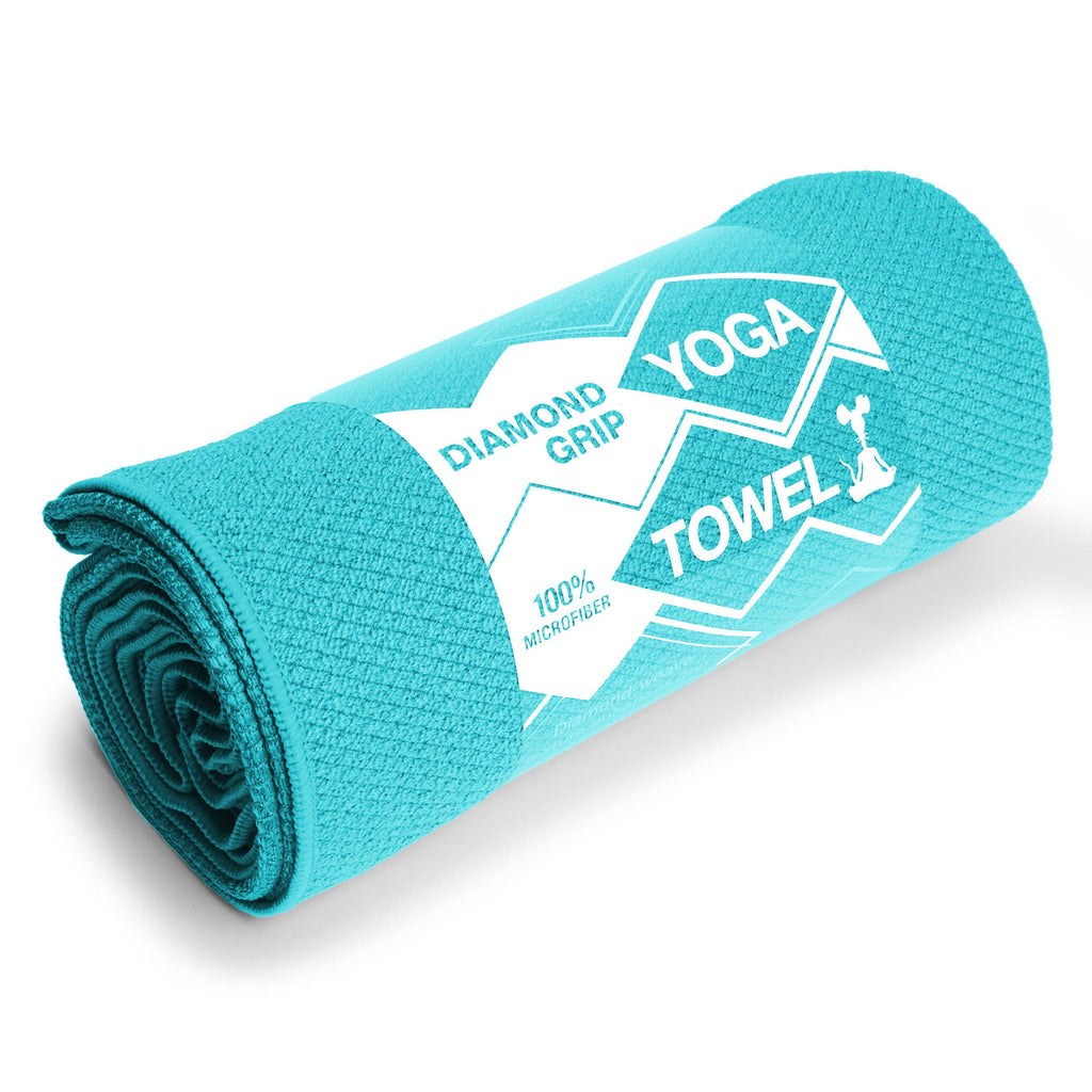 Turquiose Diamond Grip Yoga Towel