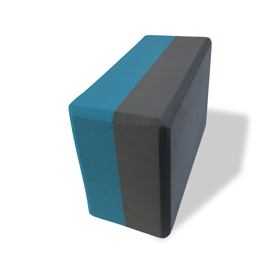 Two-Tone Yoga Block, Turquoise-Charcoal