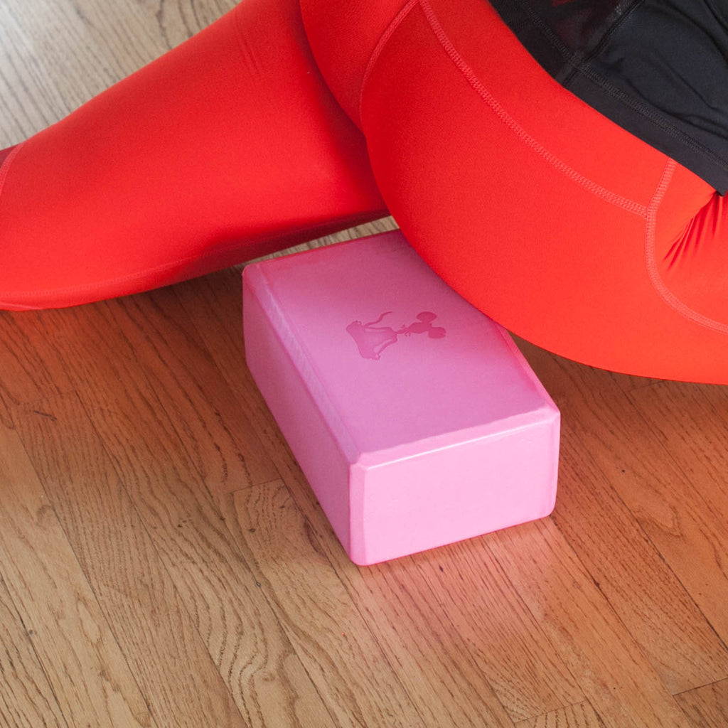 Yoga Block & Yoga Strap Combo Pack - Hot Pink