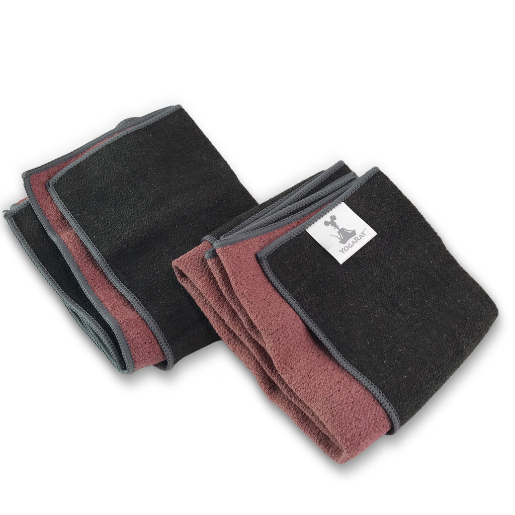 ColorTrue Yoga Hand Towel, Two Pack, Black-Brick