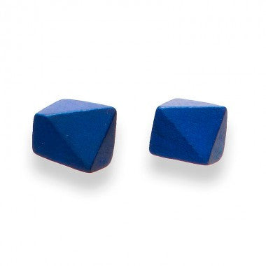 FACETED SQUARE STUD - ELECTRIC BLUE