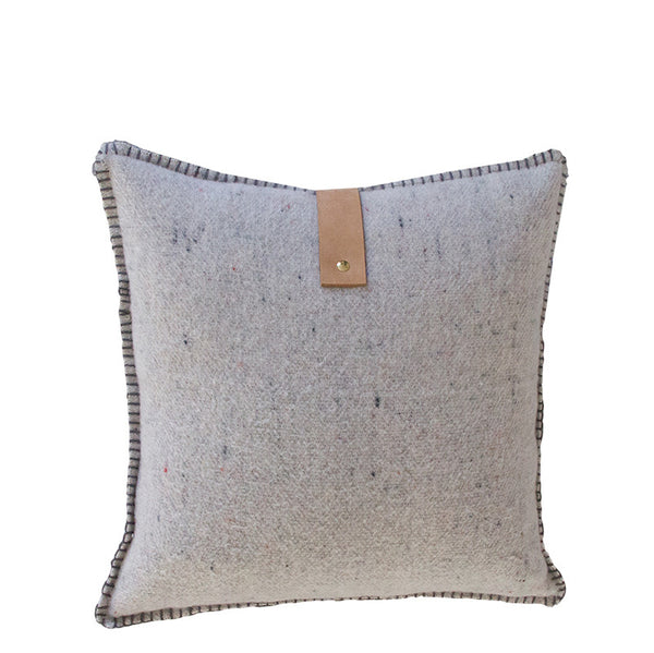 GREY MERINO WOOL BLEND CUSHION WITH LEATHER 45cm